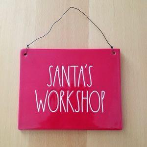 Rae dunn Christmas plaque santa's workshop